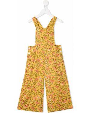Хлопковый желтый комбинезон без рукавов квадратный Emile Et Ida