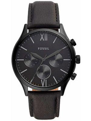 Черные кожаные часы механические Fossil