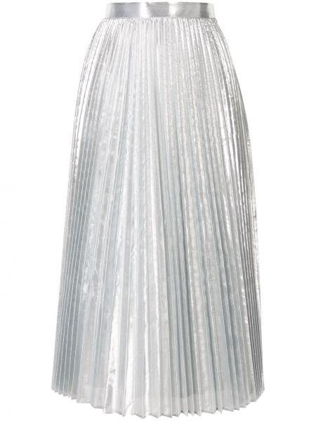 Pofałdowany nylon srebro spódnica ołówkowa z ozdobnym wykończeniem Enfold