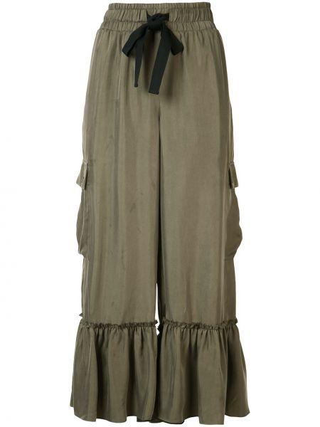Зеленые укороченные брюки с оборками Cinq À Sept