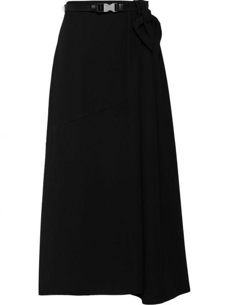 Черная асимметричная с завышенной талией юбка Prada