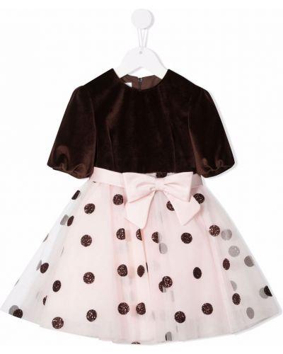 Różowa sukienka w grochy Colorichiari