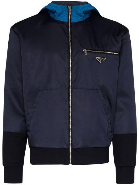 Niebieska bluza długa z kapturem z długimi rękawami Prada