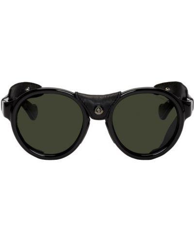 Мерцающие кожаные серебряные солнцезащитные очки круглые Moncler