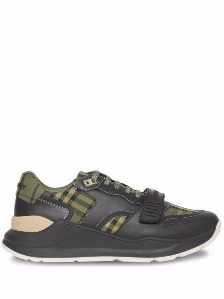 Zielone sneakersy skorzane Burberry