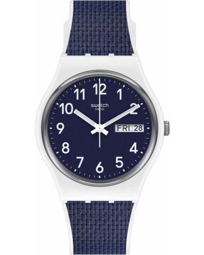 Синие силиконовые часы водонепроницаемые Swatch