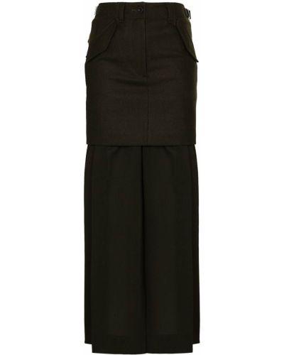 Шерстяная юбка макси - зеленая Sacai