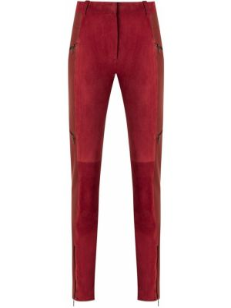 Кожаные красные брюки с карманами узкого кроя Reinaldo Lourenço