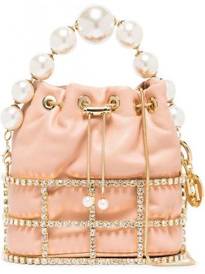 Różowa torba na ramię skórzana Rosantica