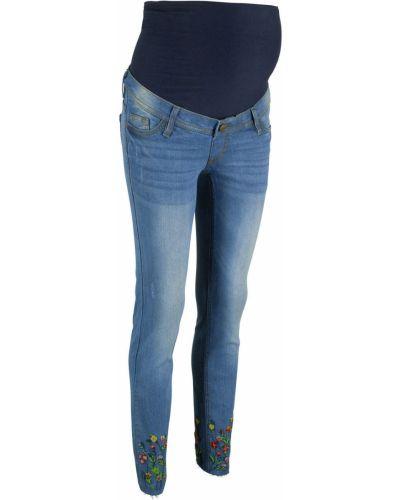 Укороченные джинсы с вышивкой для беременных Bonprix