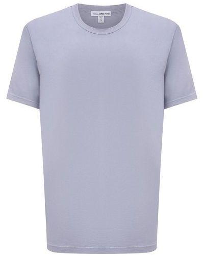 Хлопковая футболка - голубая James Perse