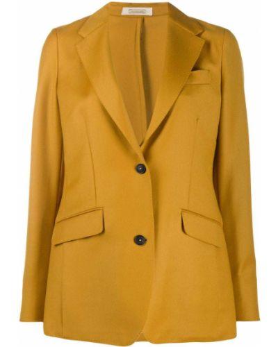 Шерстяной желтый однобортный классический пиджак Massimo Alba