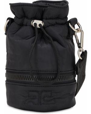 Czarna torebka mini z nylonu z haftem Courreges