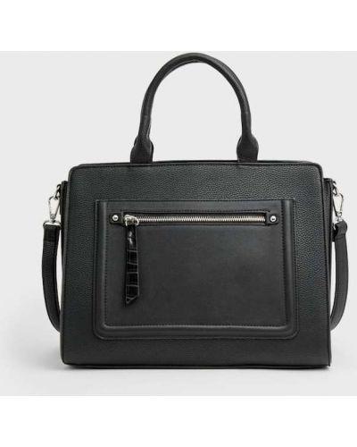 Черная сумка шоппер Stradivarius