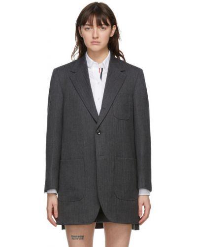 Белое шерстяное длинное пальто с воротником с накладными карманами Thom Browne