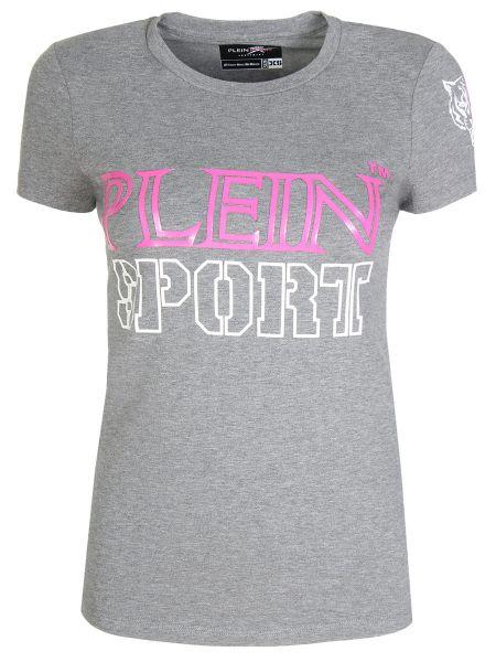 Хлопковая футбольная спортивная футболка с круглым вырезом с короткими рукавами Plein Sport