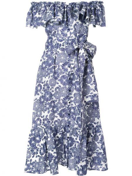 Платье миди на пуговицах с цветочным принтом Lisa Marie Fernandez