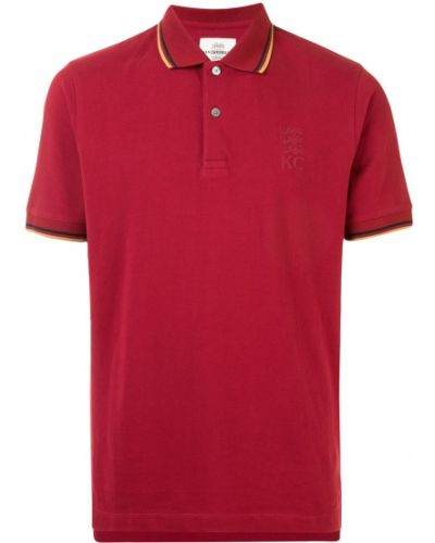 Красная рубашка с коротким рукавом с воротником с вышивкой на пуговицах Kent & Curwen