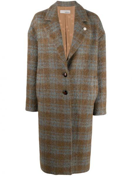 Деловое однобортное шерстяное длинное пальто на пуговицах Lardini