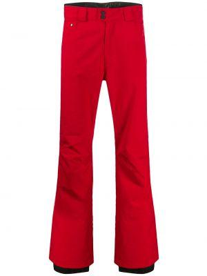Красные прямые брюки с карманами на пуговицах новогодние Rossignol