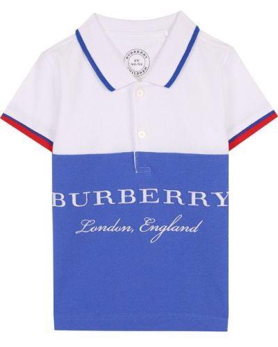 Голубое поло в полоску Burberry