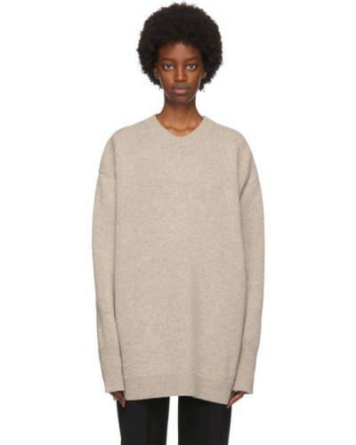 Бежевый шерстяной свитер с воротником с манжетами Studio Nicholson