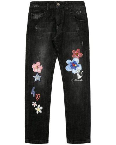 Прямые джинсы с эффектом потертости с аппликацией Simonetta