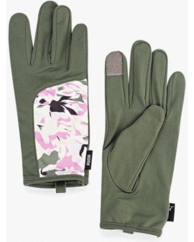 Перчатки зеленый хаки Puma