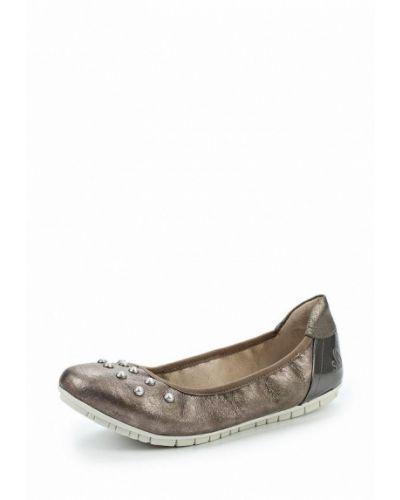 Балетки кожаные серебряного цвета S.oliver