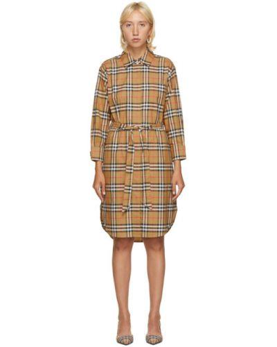 Платье макси из поплина с воротником с длинными рукавами с манжетами Burberry