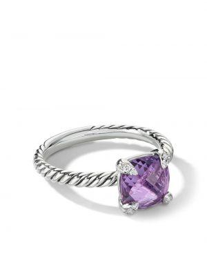 Fioletowy pierścionek srebrny z diamentem David Yurman