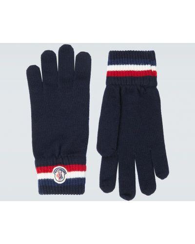 Синие шерстяные перчатки с манжетами Moncler