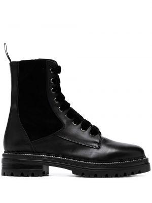 Czarne ankle boots koronkowe sznurowane Carvela
