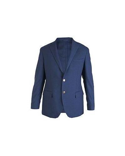 Повседневный шерстяной синий пиджак Castello D'oro