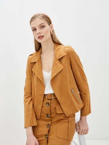 Кожаная куртка весенняя коричневая Pimkie