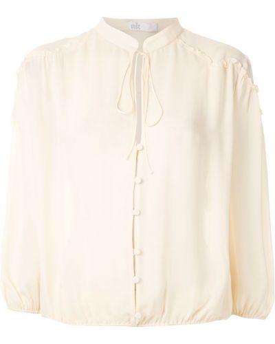 Блузка с воротником-стойкой прямая НК