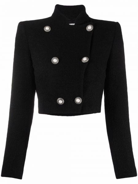 Черный пиджак двубортный Alessandra Rich