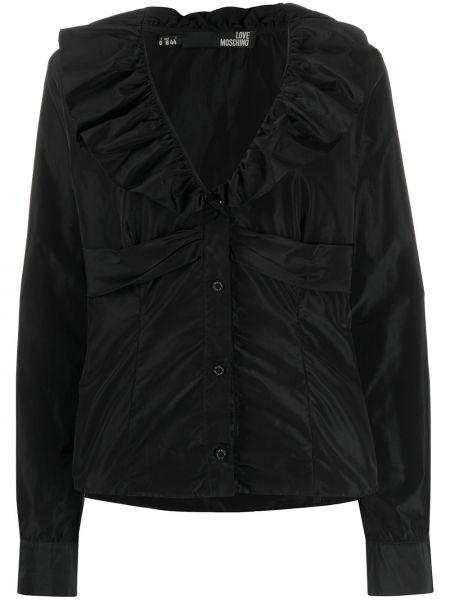 С рукавами черная рубашка на пуговицах с оборками Moschino Pre-owned