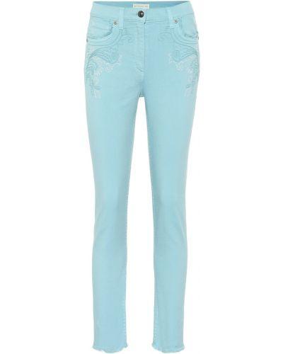 Бирюзовые джинсы-скинни с вышивкой Etro