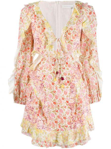 Платье мини розовое макси Zimmermann