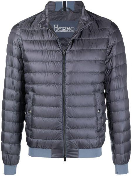 Z rękawami niebieski długa kurtka metal Herno