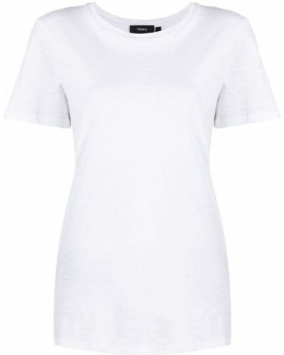 Льняная с рукавами белая рубашка Theory