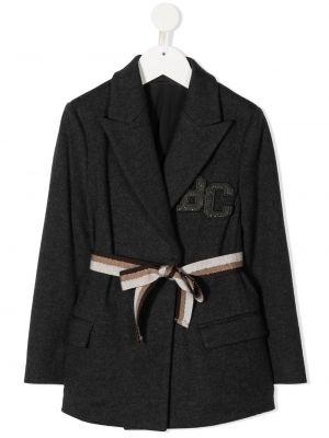 Шерстяной серый пиджак с воротником с вышивкой Brunello Cucinelli Kids