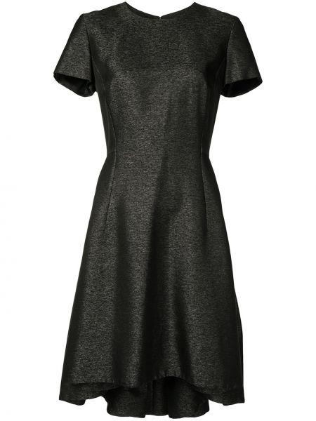 Шелковое с рукавами черное платье мини Christian Dior