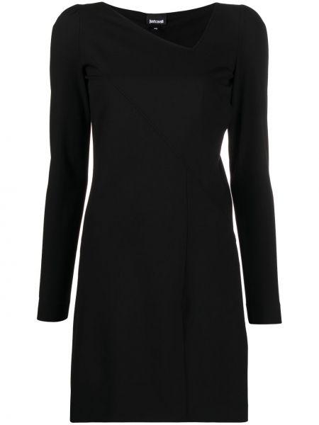 Черное платье мини с длинными рукавами из вискозы Just Cavalli