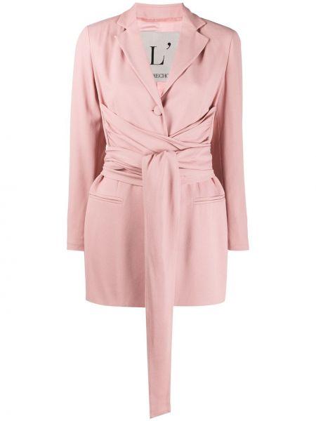 Розовый пиджак с поясом из вискозы L'autre Chose