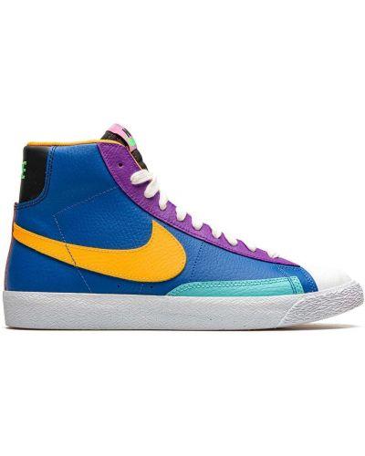 Синий кожаный пиджак на шнуровке Nike Kids