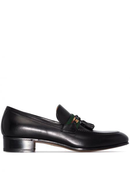 Czarny loafers z prawdziwej skóry na pięcie prążkowany Gucci
