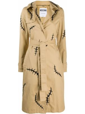 Длинное пальто с карманами на пуговицах с воротником Moschino