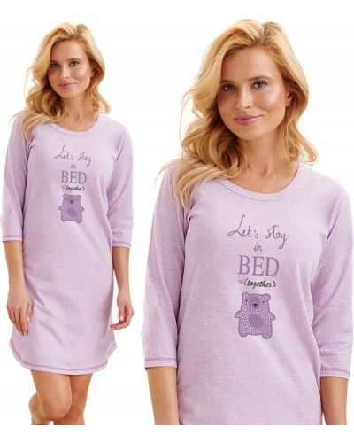 Koszula nocna bawełniana - fioletowa Taro